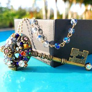 Betsey Johnson Cluster Key Long Pendant Necklace